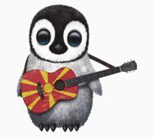 Baby Penguin Playing Macedonian Flag Guitar Kids Clothes