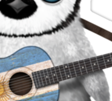 Baby Penguin Playing Argentinian Flag Guitar Sticker