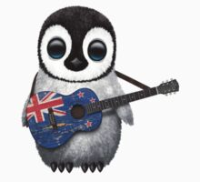 Baby Penguin Playing New Zealand Flag Guitar Kids Clothes