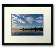 Blue and White Serenity - a Lakefront Stillness Framed Print