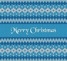 Merry Christmas Greeting Card on Winter Geometric Ornament Pattern Background in Blue and White from Knitted Fabric with Words by amovitania