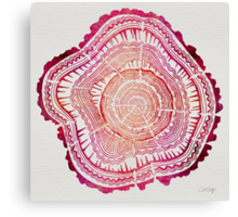 Tree Rings – Red Watercolor Canvas Print