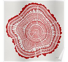 Red Tree Rings Poster