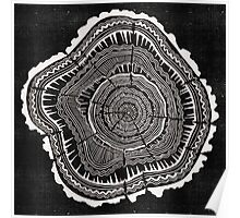 Woodblock Tree Rings Poster