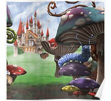Caterpillar in the Wonderland Toadstool Forest Poster