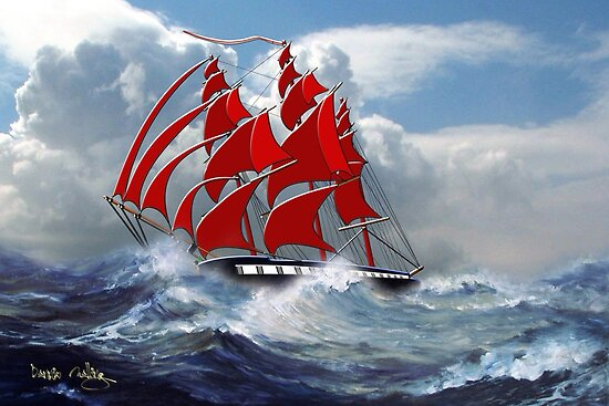 The Clipper Ship Indian Queen in Rough Seas by Dennis Melling