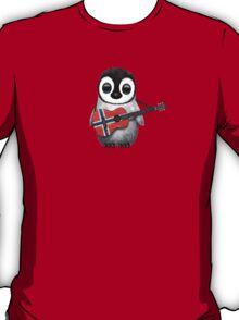 Baby Penguin Playing Norwegian Flag Guitar T-Shirt