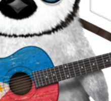 Baby Penguin Playing Filipino Flag Guitar Sticker