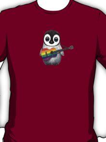 Baby Penguin Playing Gay Pride Rainbow Flag Guitar T-Shirt