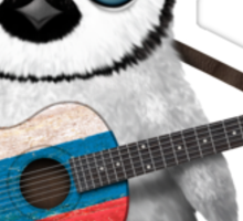 Baby Penguin Playing Russian Flag Guitar Sticker