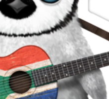 Baby Penguin Playing South African Flag Guitar Sticker