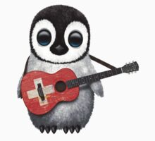 Baby Penguin Playing Swiss Flag Guitar Kids Clothes