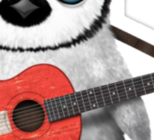 Baby Penguin Playing Swiss Flag Guitar Sticker