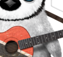 Baby Penguin Playing Trinidad and Tobago Flag Guitar Sticker