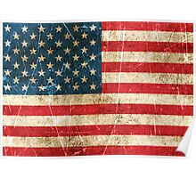 Vintage Aged and Scratched American Flag Poster