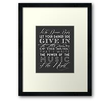Music of the Night typography Framed Print
