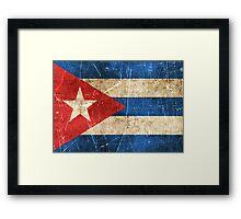 Vintage Aged and Scratched Cuban Flag Framed Print