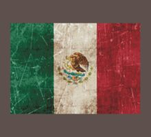Vintage Aged and Scratched Mexican Flag Kids Clothes