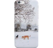 snow scene landscape with trees & rooftops art iPhone Case/Skin