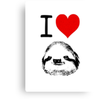I Love Sloths Canvas Print