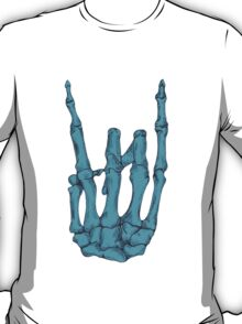Rock On Skeleton Hand - Blue T-Shirt