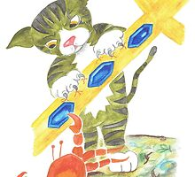 Cat and Crab in Fight over Neptune's Trident by Susan Day