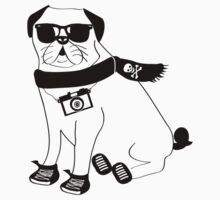 Hipster Pug - Cute Dog Cartoon Character - Puggle by designedbyn