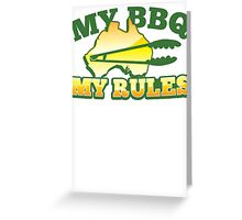 MY BBQ (barbecue) MY RULES Aussie Australian flag and tongs Greeting Card