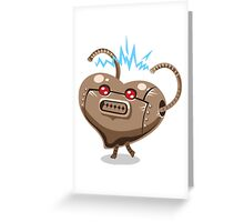 Valentines hearts angry robot Greeting Card