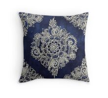 Cream Floral Moroccan Pattern on Deep Indigo Ink Throw Pillow