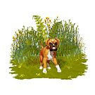 Boxer Puppy, tote, pillow by LoneAngel