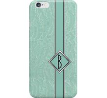 1920s Blue Deco Swing with Monogram letter B iPhone Case/Skin