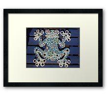 Blue Mosaic Frog Framed Print