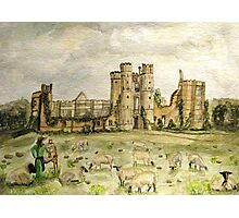 Plein Air Painting At Cowdray House Ruins Sussex Photographic Print