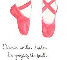 Red pointe shoes by Gracefullydrawn