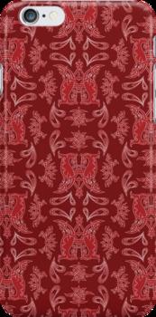 Burgundy + Red Russian Patterns by Mariya Olshevska