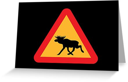 Caution Moose Sign by tinybiscuits