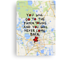 Paper Towns: Quote3 Canvas Print