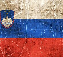Vintage Aged and Scratched Slovenian Flag by Jeff Bartels