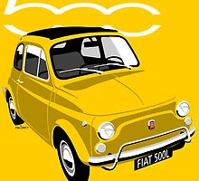 Classic Fiat 500L yellow by car2oonz