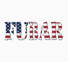 FUBAR - USA flag, black outline. by MadTogger