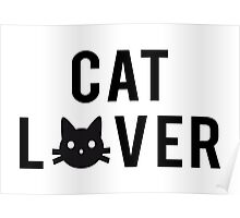 Cat lover, word art, text design with black cat head Poster
