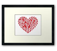 red heart with shoe silhouettes Framed Print