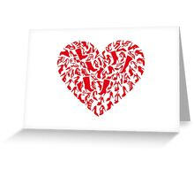 red heart with shoe silhouettes Greeting Card