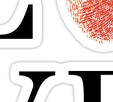 Love with red fingerprint heart Sticker