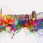 Leicester skyline in watercolor background by paulrommer