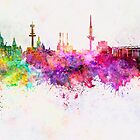 Hannover skyline in watercolor background by paulrommer