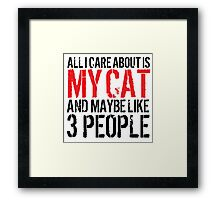 Excellent 'All I Care About Is Cat And Maybe Like 3 People' Tshirt, Accessories and Gifts Framed Print