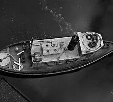 River Tug Boat Replica in Black & White by DeCalleVisaya