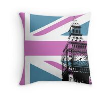 Union Jack and Big Ben, London, UK, Pink and Purple Throw Pillow